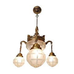 French Art Deco and Art Nouveau Brass in Degué Style Etched Glass Chandelier