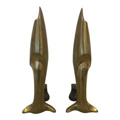 French Art Deco Andirons Bronze Attibuted Pierre Legrain