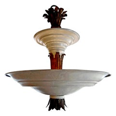 French Art Deco André Arbus Style Tole and Bronze Chandelier, circa 1925