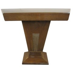 French Art Deco Angular Walnut Console with Nickeled Bronze Trim