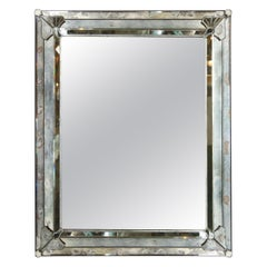 Art Deco Smoked & Antiqued Rectangular Wall Mirror with Sculptural Appliques