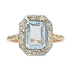 French Art Deco Aquamarine Diamond 18 Karat Yellow Gold Platinum Ring