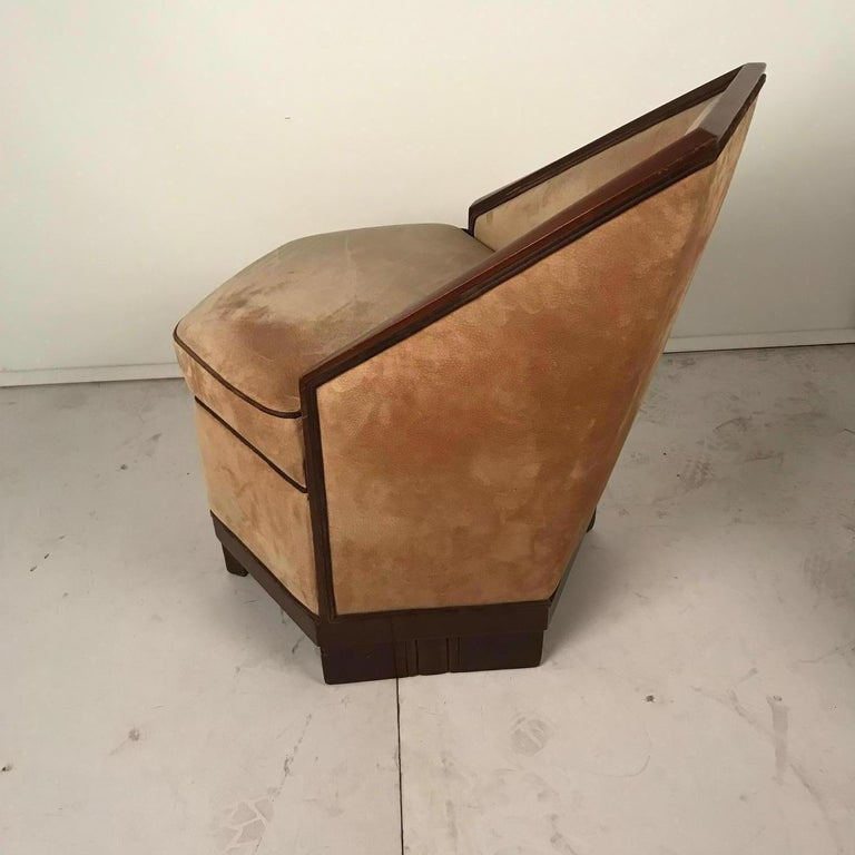 French Art Deco Armchair and Ottoman by Saddier For Sale 6