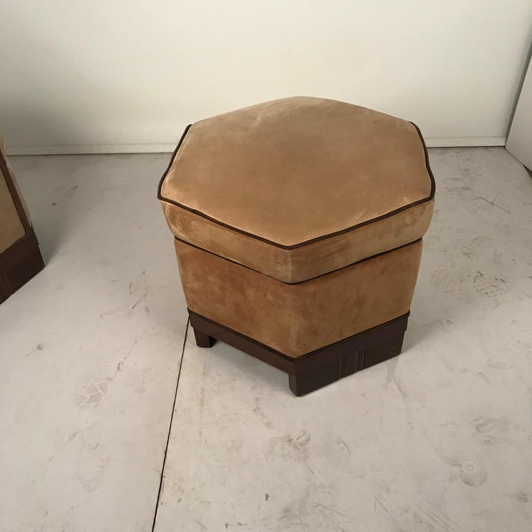 French Art Deco Armchair and Ottoman by Saddier For Sale 9