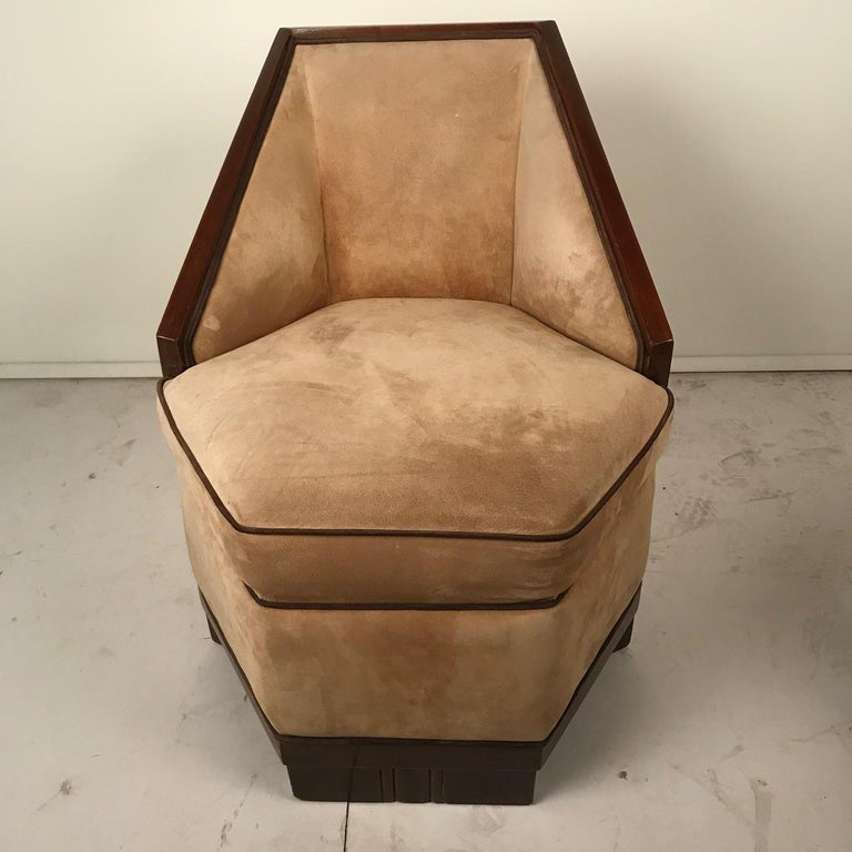 French Art Deco Armchair and Ottoman by Saddier For Sale 11