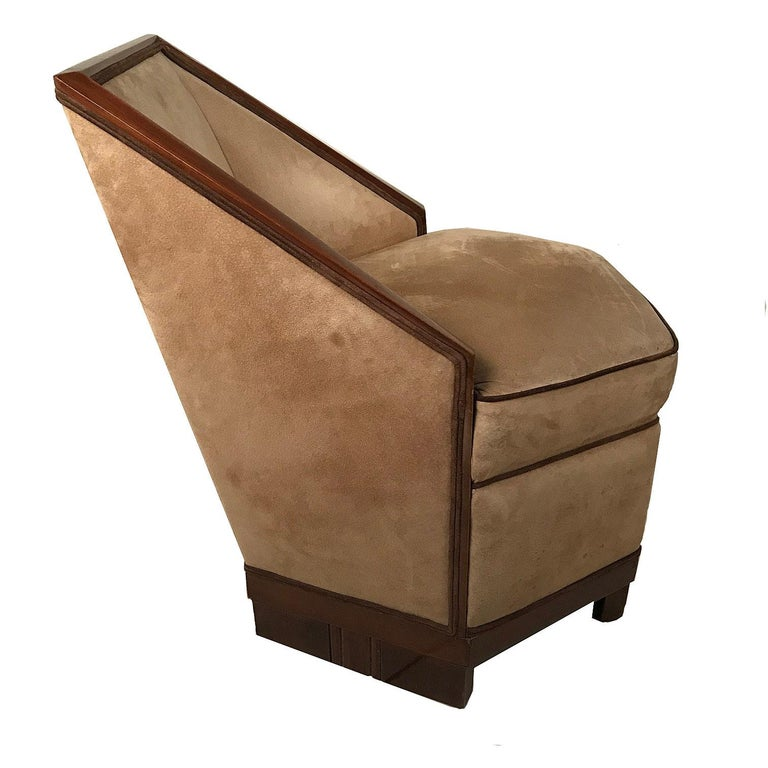 French Art Deco Armchair and Ottoman by Saddier In Good Condition For Sale In Montreal, QC