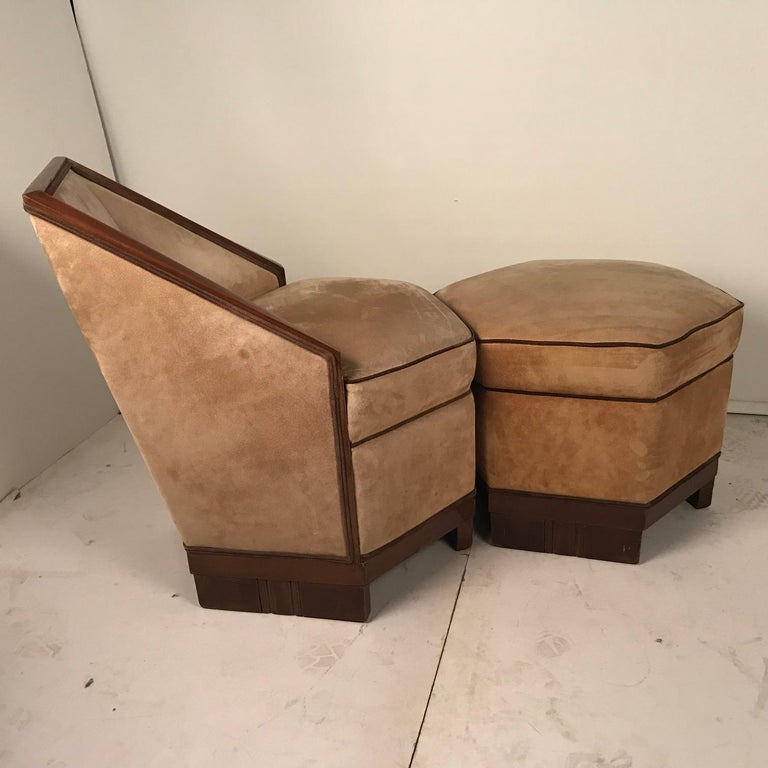 French Art Deco Armchair and Ottoman by Saddier For Sale 5