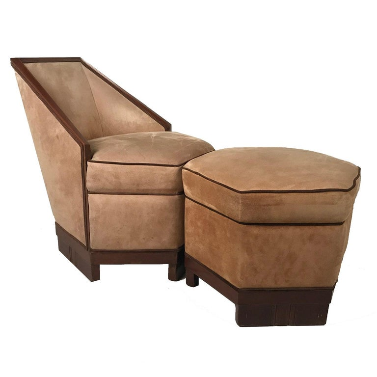 French Art Deco Armchair and Ottoman by Saddier For Sale