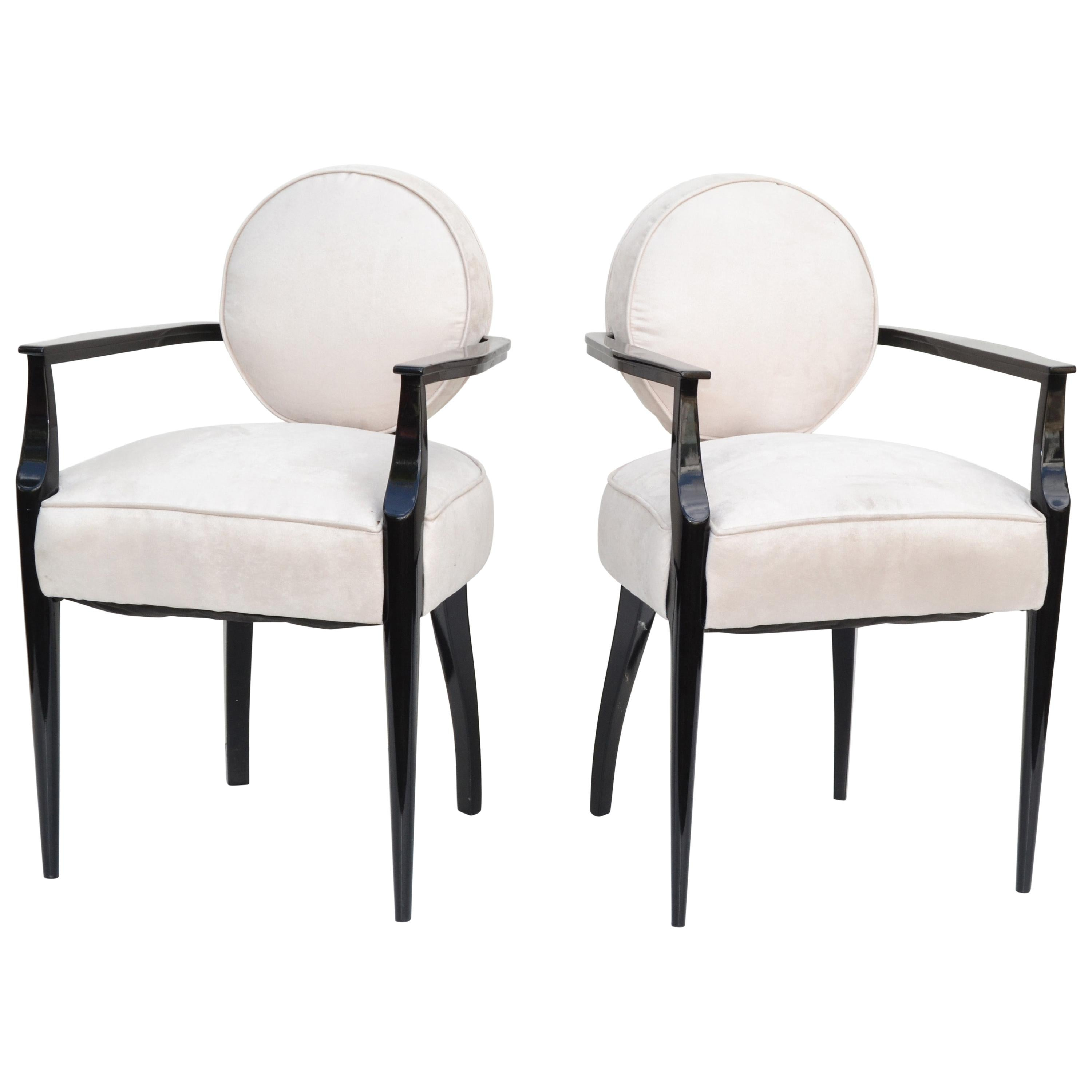 French Art Deco Armchair Dominique style ultrasuede Fabric, Pair