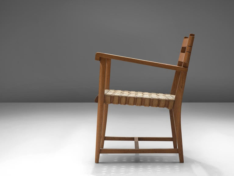Mid-Century Modern French Art Deco Armchair in Solid Oak with Woven Seat For Sale