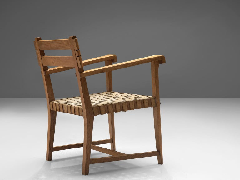 French Art Deco Armchair in Solid Oak with Woven Seat In Good Condition For Sale In Waalwijk, NL