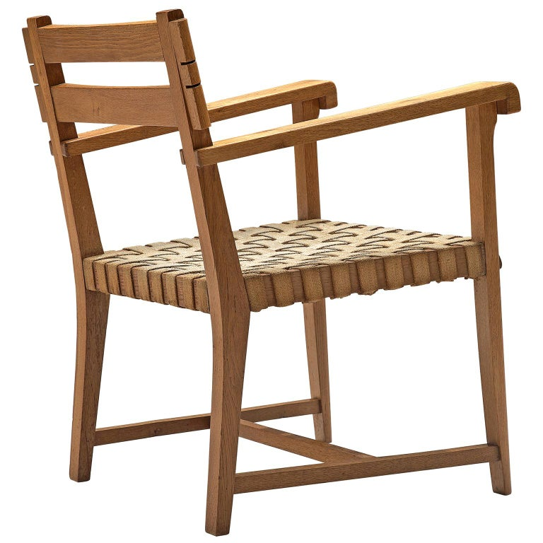 French Art Deco Armchair in Solid Oak with Woven Seat For Sale