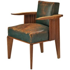 French Art Deco Armchair in Wood and Patinated Green Leather