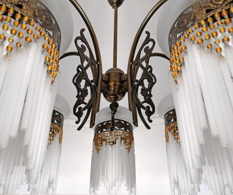 French Art Deco & Art Nouveau Amber Beaded Fringe & Cut Glass Globes Chandelier For Sale 6