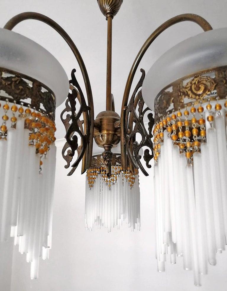 French Art Deco & Art Nouveau Amber Beaded Fringe & Cut Glass Globes Chandelier For Sale 7
