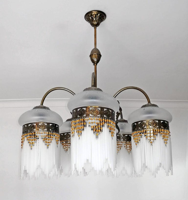 20th Century French Art Deco & Art Nouveau Amber Beaded Fringe & Cut Glass Globes Chandelier For Sale