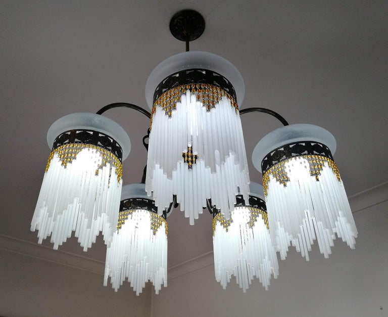 French Art Deco & Art Nouveau Amber Beaded Fringe & Cut Glass Globes Chandelier For Sale 1