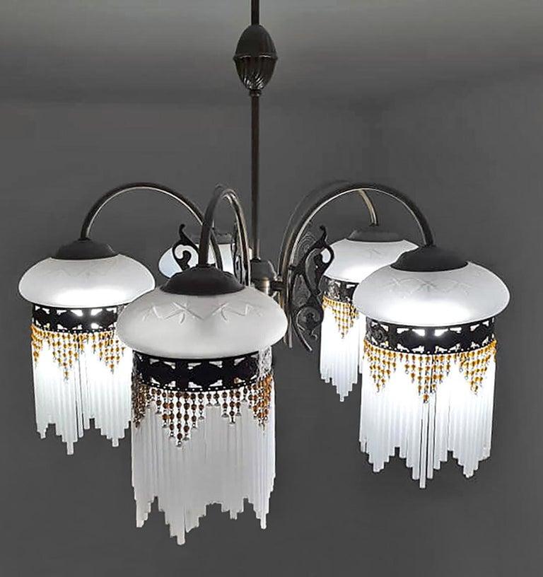 French Art Deco & Art Nouveau Amber Beaded Fringe & Cut Glass Globes Chandelier For Sale 2