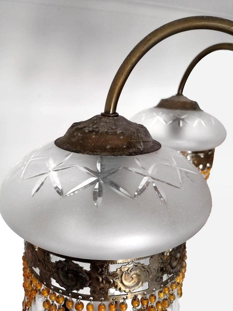 French Art Deco & Art Nouveau Amber Beaded Fringe & Cut Glass Globes Chandelier For Sale 3
