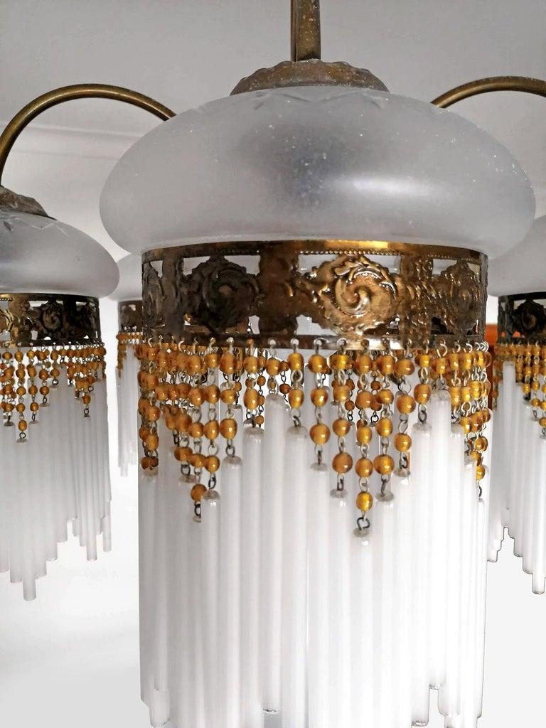 French Art Deco & Art Nouveau Amber Beaded Fringe & Cut Glass Globes Chandelier For Sale 5