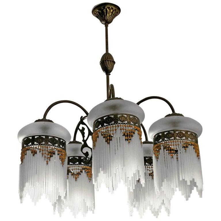 French Art Deco & Art Nouveau Amber Beaded Fringe & Cut Glass Globes Chandelier For Sale