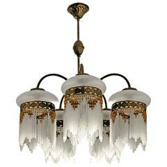 French Art Deco & Art Nouveau Amber Beaded Fringe & Cut Glass Globes Chandelier