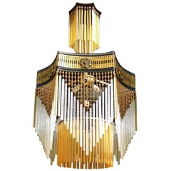 French Art Deco, Art Nouveau Amber Beaded & Glass Fringe Gilt 4-Light Chandelier