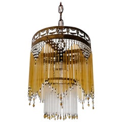 French Art Deco & Art Nouveau Amber Straw Fringe & Beaded Glass Chandelier c1920