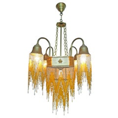 French Art Deco & Art Nouveau Amber Straw Fringe & White Beaded Glass Chandelier