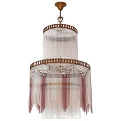 French Art Deco, Art Nouveau Beaded & Pink Glass Fringe Gilt 5-Light Chandelier