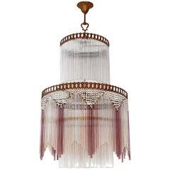 French Art Deco, Art Nouveau Beaded & Pink Glass Fringe Gilt 5-Light Chandelier