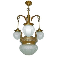French Art Deco Art Nouveau Brass in Degué Style Molded Frosted Glass Chandelier