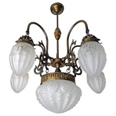 French Art Deco & Art Nouveau Bronze Color Brass in Degué Style Glass Chandelier