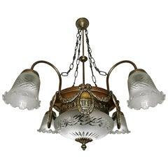 French Art Deco & Art Nouveau Cut Etched Glass and Gilt Brass 6-Light Chandelier