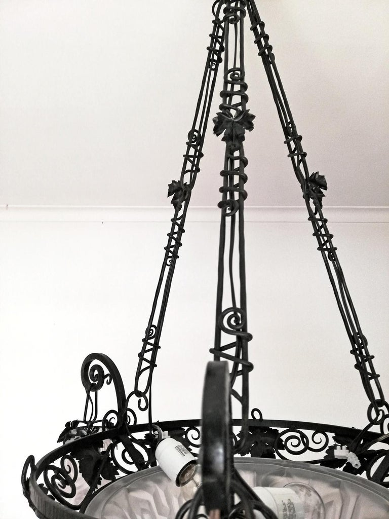 French Art Deco Art Nouveau Forged Iron Chandelier or Pendant Signed Degue 1930 For Sale 8
