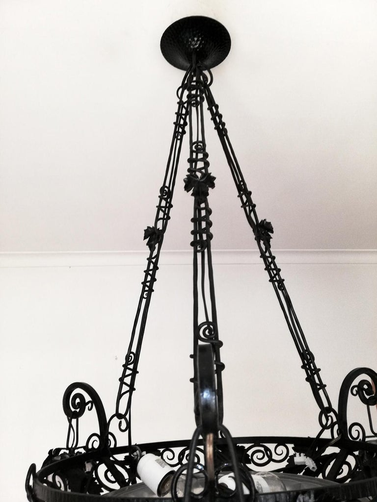 French Art Deco Art Nouveau Forged Iron Chandelier or Pendant Signed Degue 1930 For Sale 9