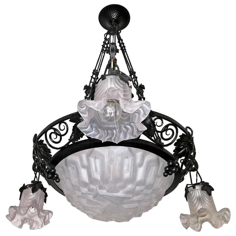 French Art Deco Art Nouveau Forged Iron Chandelier or Pendant Signed Degue 1930 For Sale