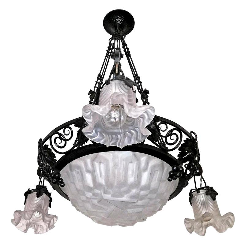 French Art Deco & Art Nouveau Wrought Forged Iron Chandelier Signed Degue, 1920