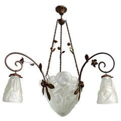 French Art Deco Art Nouveau Forged Iron Chandelier Signed Müller Lunneville 1930