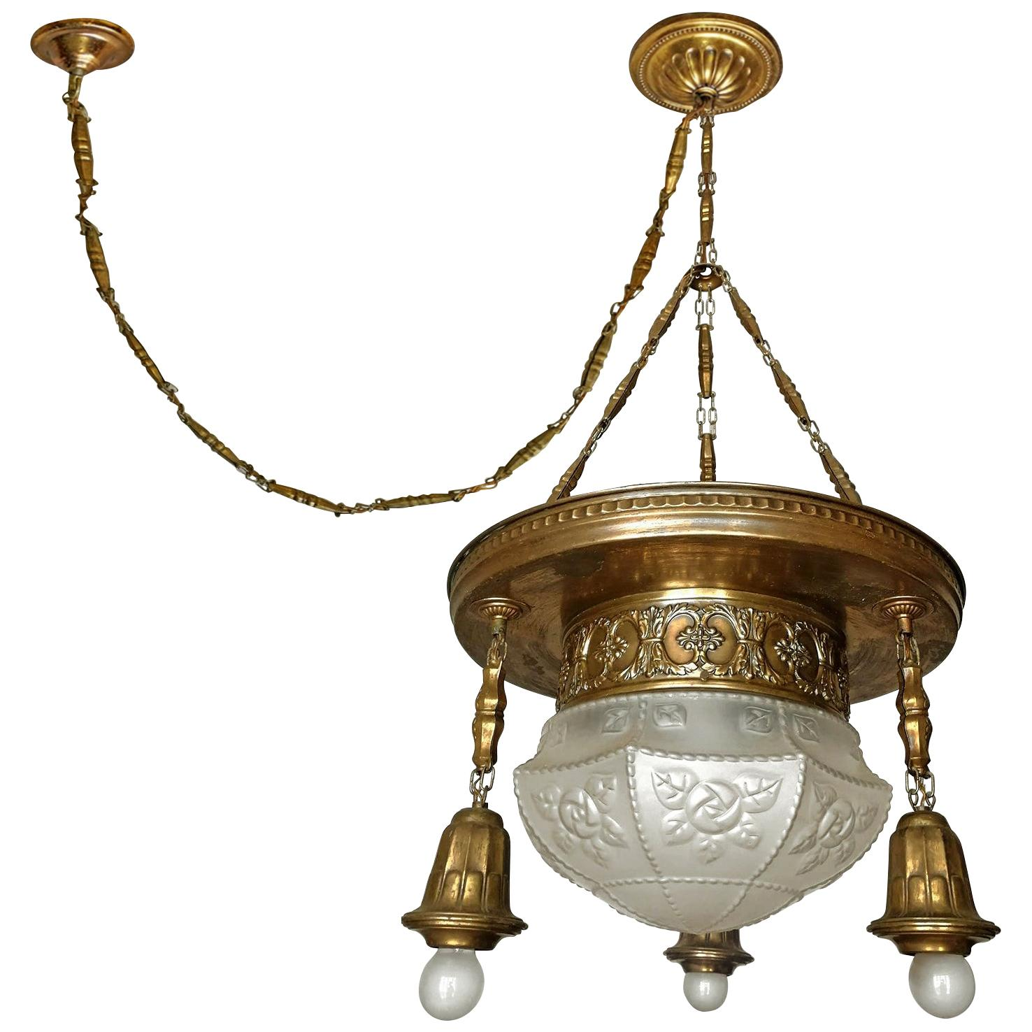 French Art Deco & Art Nouveau Gilt Brass & Frosted Glass 4-Light Chandelier 1920