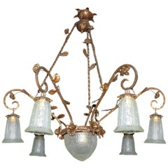 French Art Deco Art Nouveau Gilt Forged Iron Chandelier