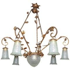 French Art Deco Art Nouveau Gilt Forged Iron Chandelier
