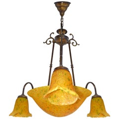 French Art Deco and Art Nouveau Polychrome Amber Glass 4-Light Chandelier