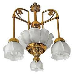 Art Deco Art Nouveau Style Art Glass Gilt Brass Chandelier with Glass Petals