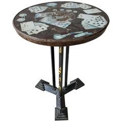 French Art Deco Bakelite and Iron Bistro Table with Casino Print, 1930s