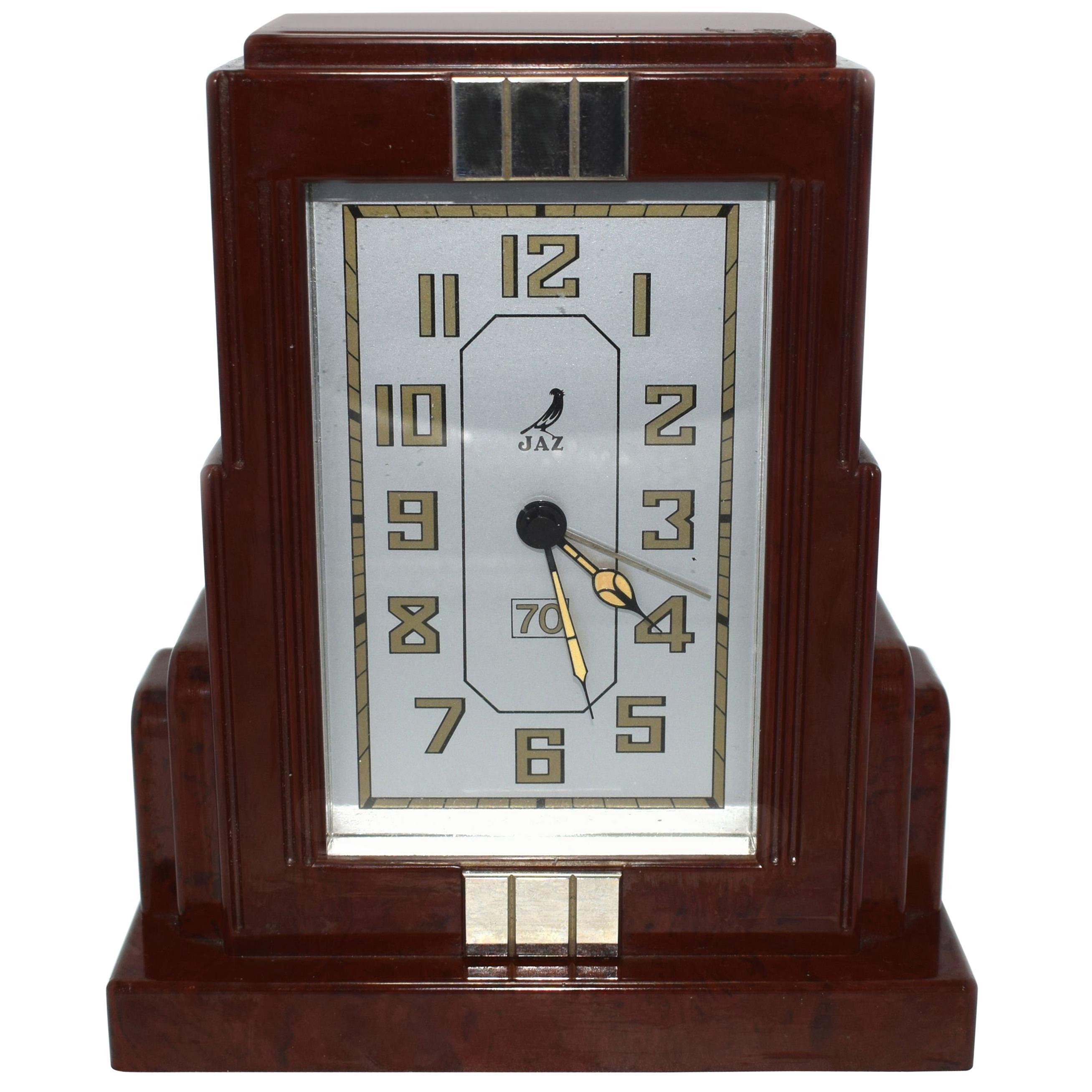 French Art Deco Bakelite Clock by JAZ