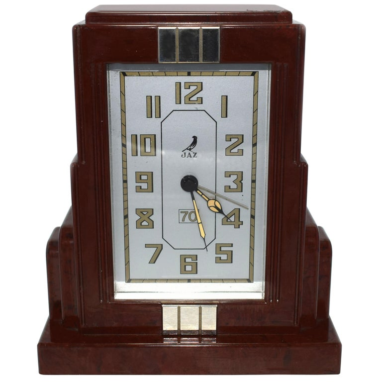 French Art Deco Bakelite Clock by JAZ For Sale