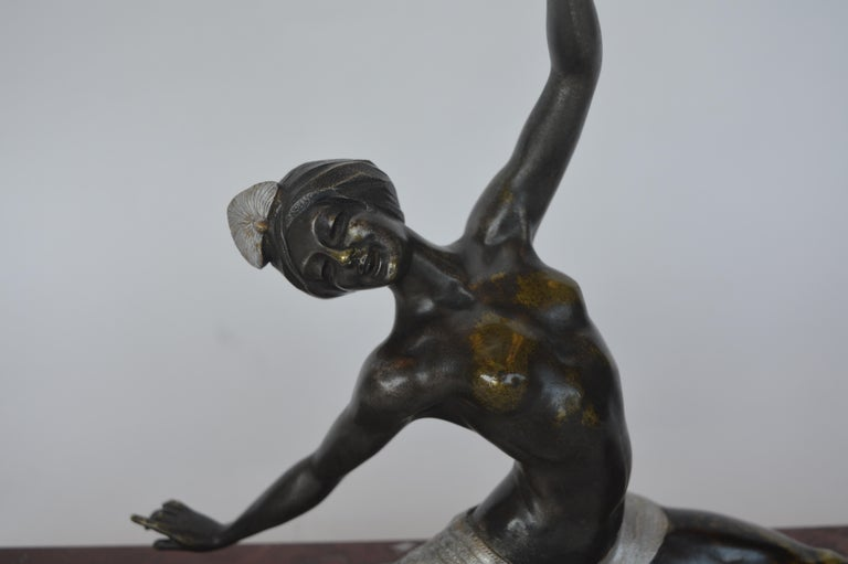 French Art Deco ballerina on a marble base. Signed Marel Guillemard IV on the bottom cheek and Morante on the right foot.