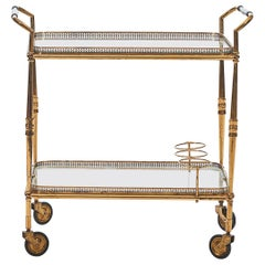 French Art Deco Bar Cart or Tea Trolley in Brass with Glass Trays