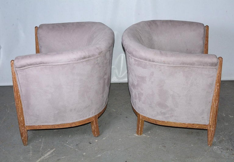 French Art Deco Barrel Back Club Chairs In Good Condition For Sale In Great Barrington, MA